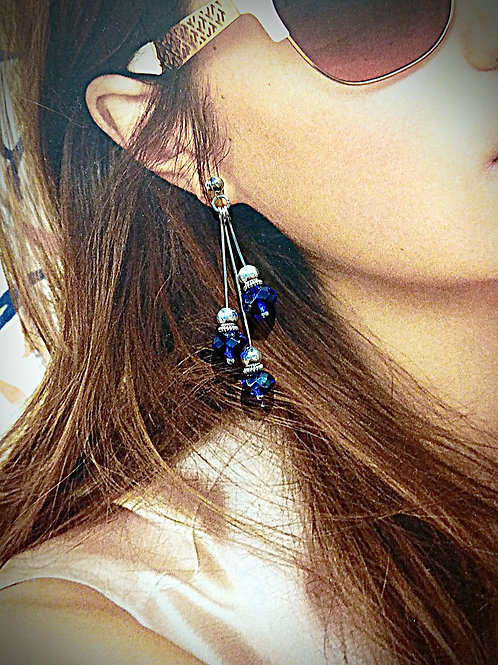 Petite style navy crystal element dangle earrings