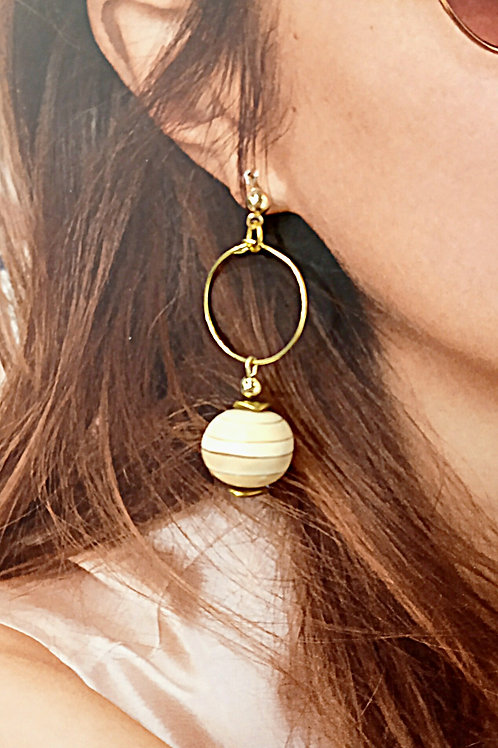 Wooden balls plated gold loop earrings