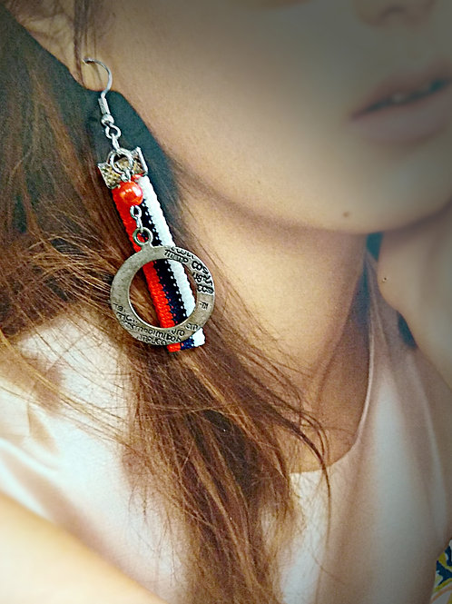 Red white navy pattern circle metal hoop earring