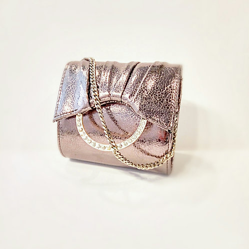 Metallic bronze silver crystal buckle party bag