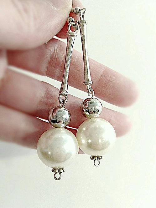 Faux big pearl silver beaded branch dangle earring