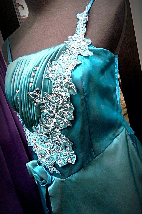 Metallic green blue sleeveless party dress