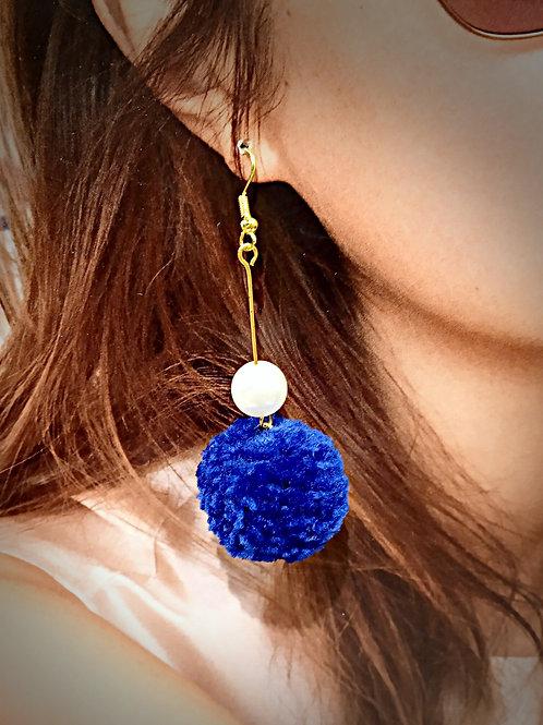 Pom pom color hair faux pearl earrings