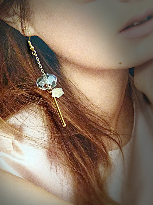 Bloom sakura gold metal sprig crystal earrings
