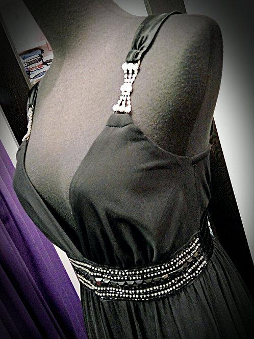 Black cotton polyester mesh party dress