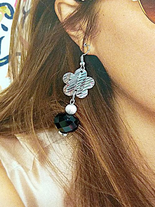 Adorable glass cut black crystal metal flower earrings