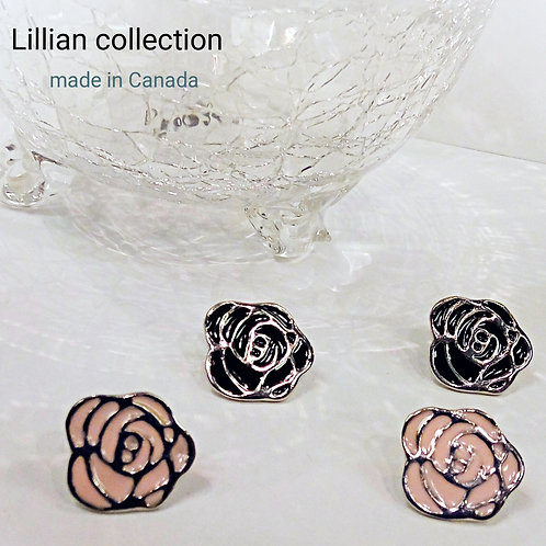 Rose etched metal earring