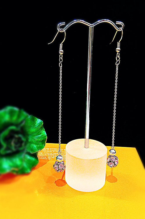 Petite pink balls long length earrings