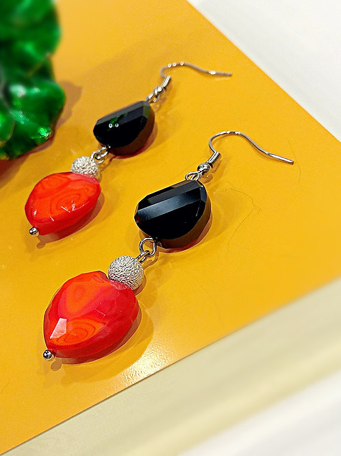 Frosted white ball black crystal red heart earrings