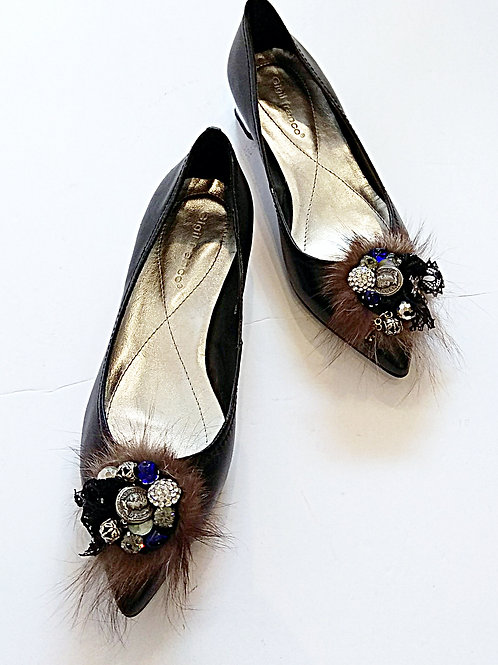 Swarovski beaded black point shoes