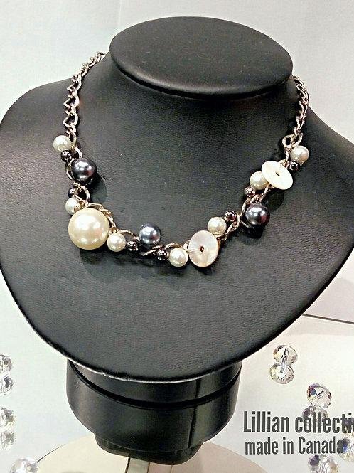 Faux gray ivory pearls metal chain bracelet