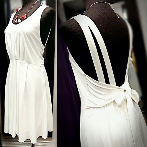 Sexy backless medium length dress