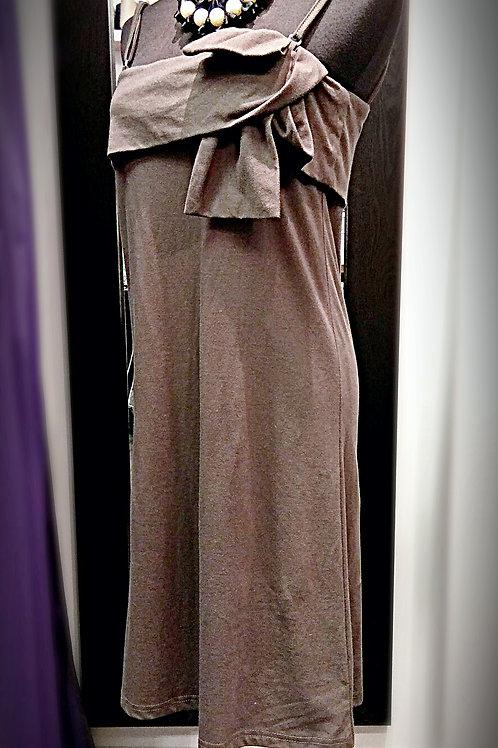 Cozy cotton khaki stretchable sleeveless dress