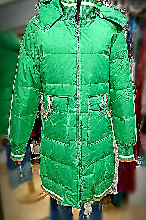 超輕蘋果綠直紋企領羽絨綿大衣