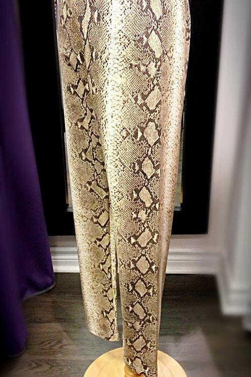 Brown beige snake pattern straight pant