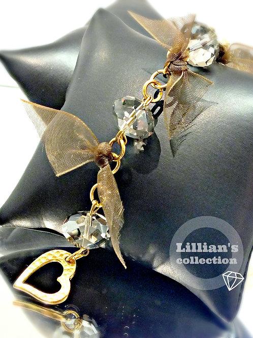 3D shinny crystal gold bracelet