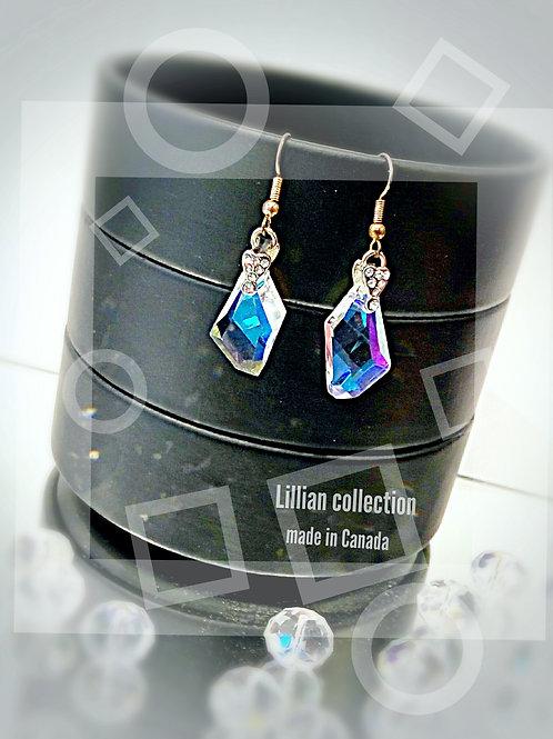 Irregular Swarovski crystal drop earring