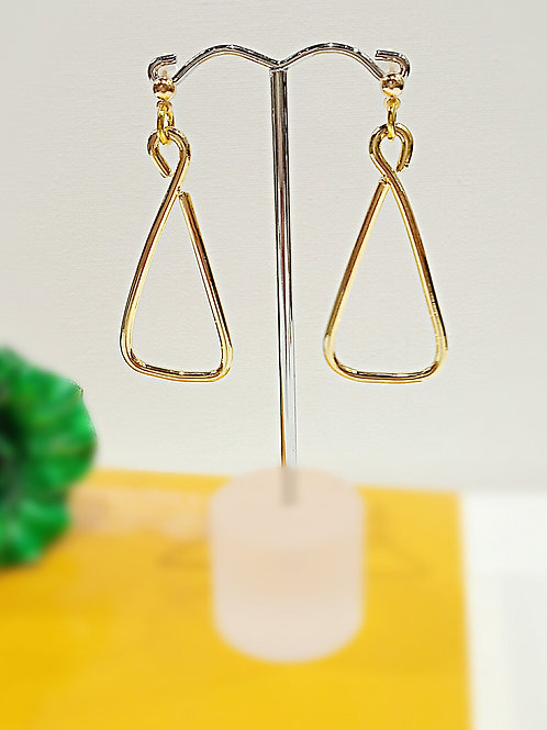 Triangle plated gold dangle earrings