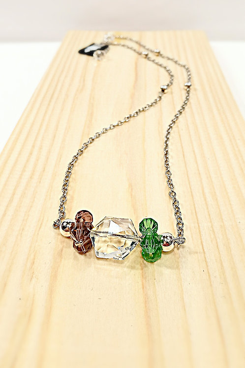 Colorful crystal element plated silver necklace