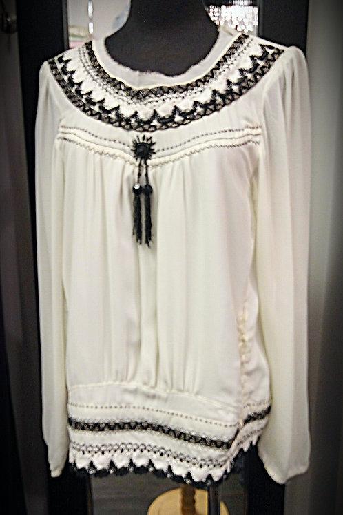 Soften chiffon petite black beads blouse