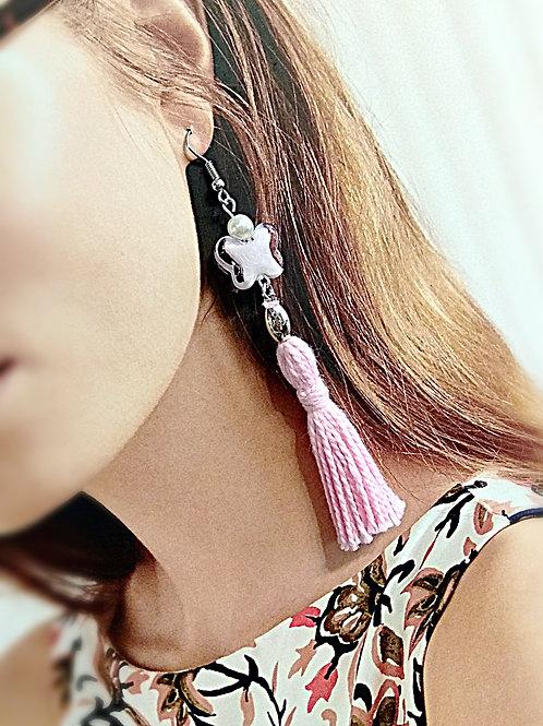 Butterfly pink glass faux pearl earring