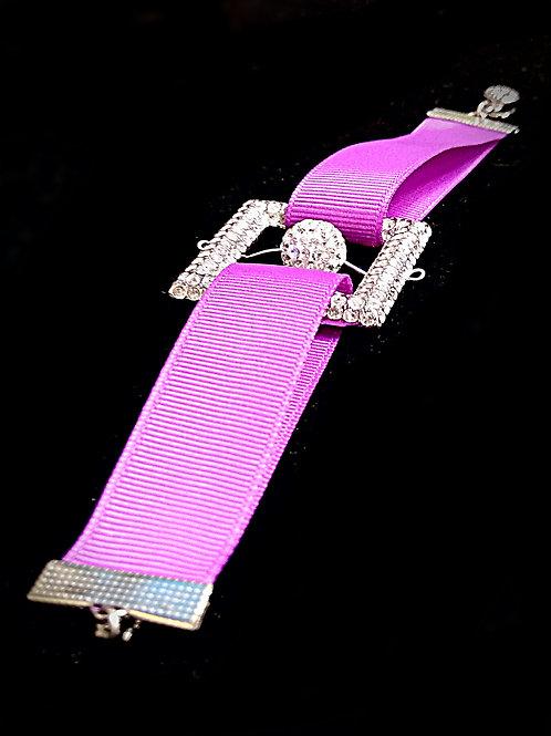 Elegant square white ball purple ribbons belt bracelet