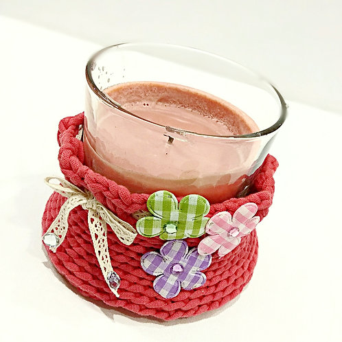 Crafted crochet candle holder flower pot jewelry basket