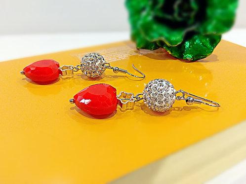 Lover red heart white crystal balls earrings