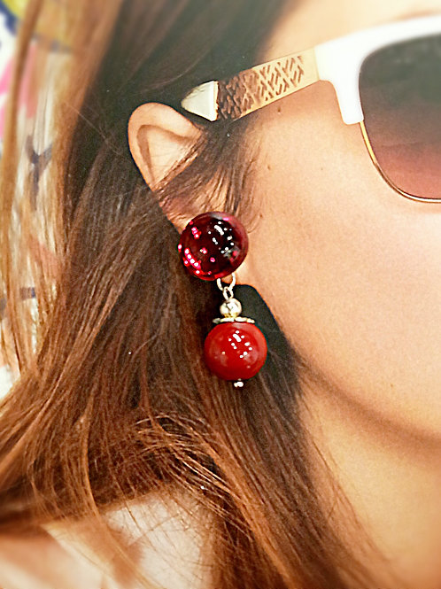 Big red balls beaded earrings