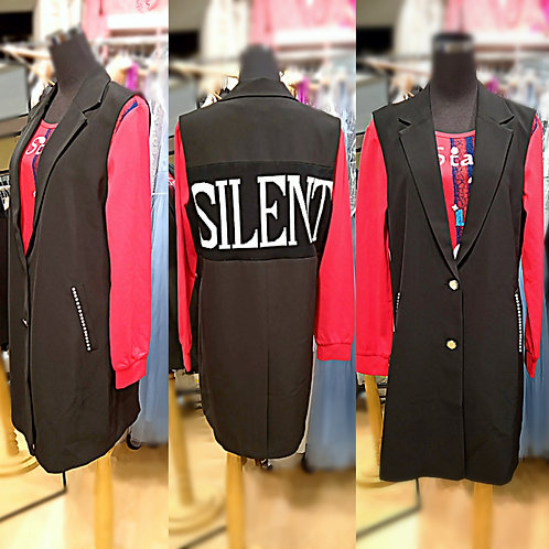 Solid black polyester letter single breast vest jacket