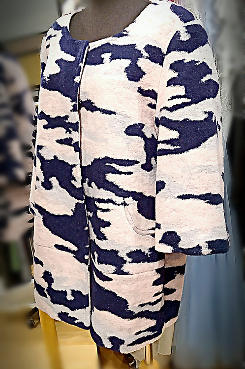 Navy pink map pattern single breasted jacket
