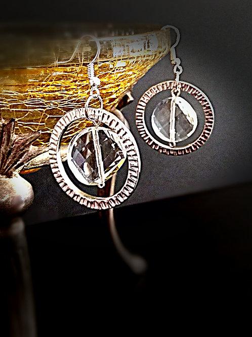 3D round loop big crystal earring
