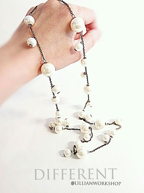 Faux cream pearl long length necklace
