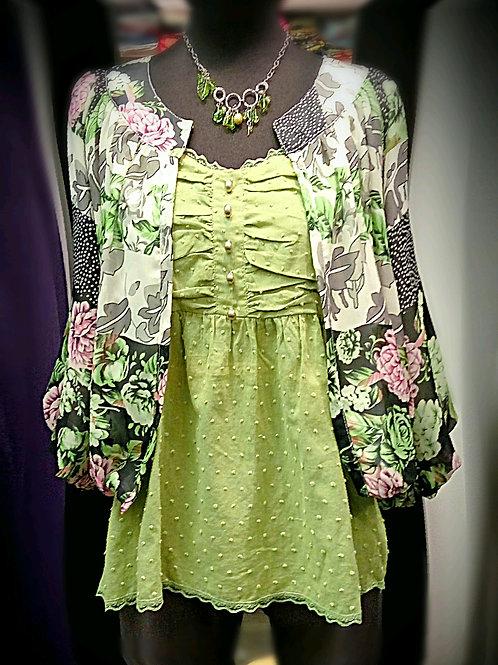 Apple green chiffon flower pattern outwear