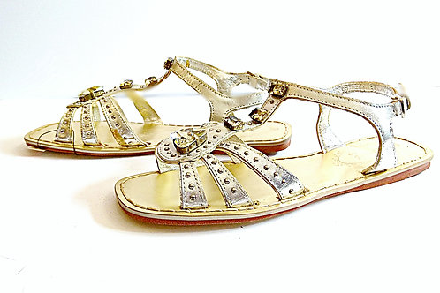 Metallic big beaded man made leather sandals