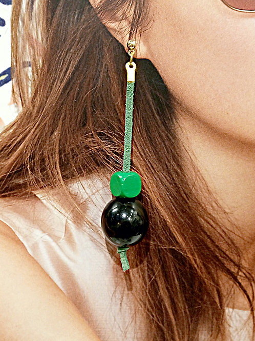 Colorful suede beaded dangle earrings