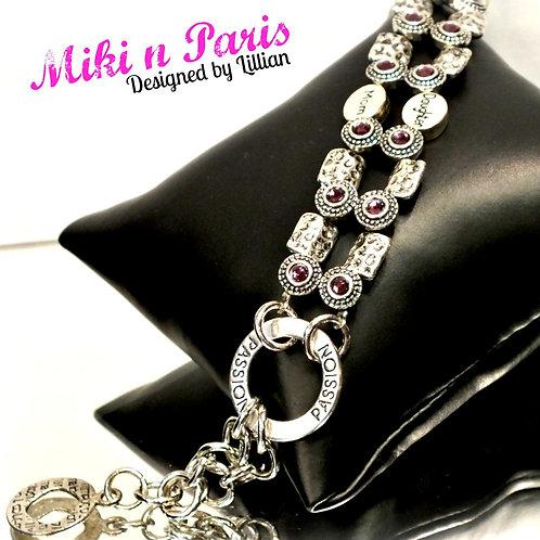 Petite purple silver metal bracelet