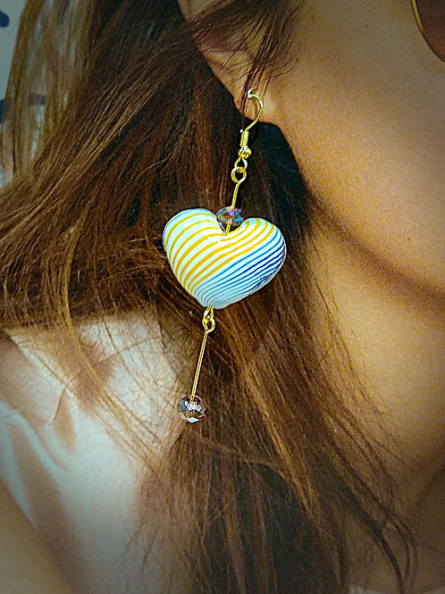 Color glass heart petite crystal beaded earrings