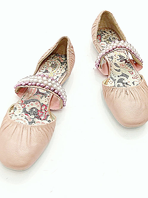 Ballet light pink faux pearl leather shoes