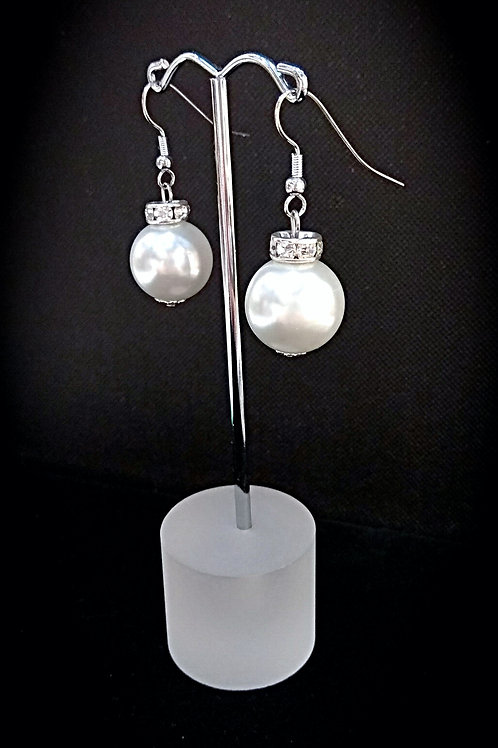 Shinny crystal pearl ball earrings