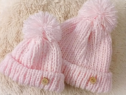 Mommy baby knitting pow pow hat