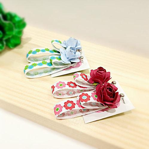 Colorful flowers ribbon earrings
