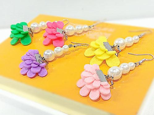 Colorful butterfly faux pearl earrings