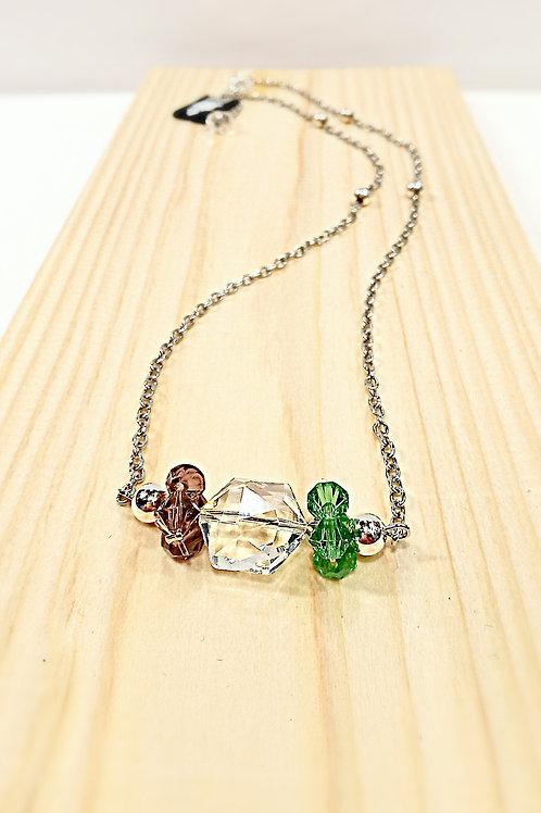 閃亮多色水晶珠頸鏈