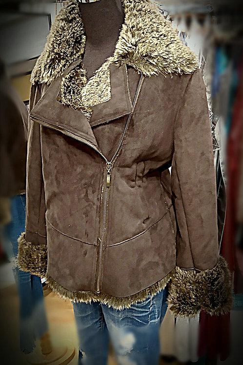 Coffee suede hair layer long sleeves jacket
