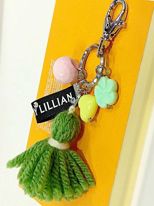 Apple green yarn colorful beaded metal key chain
