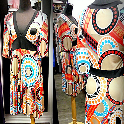 Circle pattern orange stretchable dress