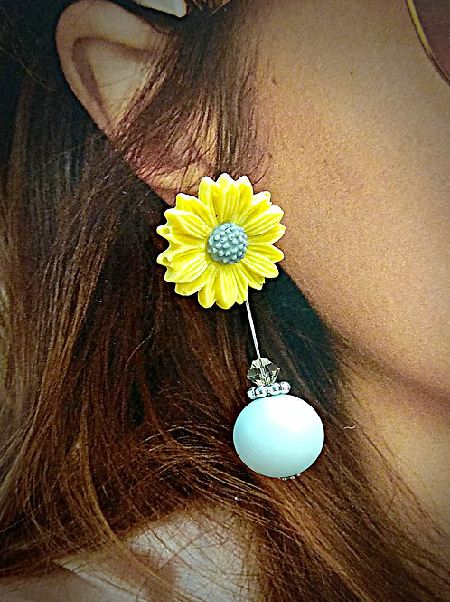 Sunshine colorful floral crystal element earrings
