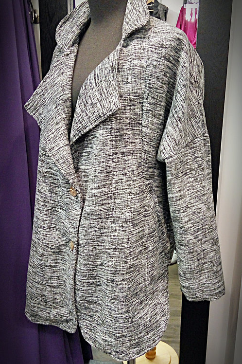 Grey black wool cotton jacket