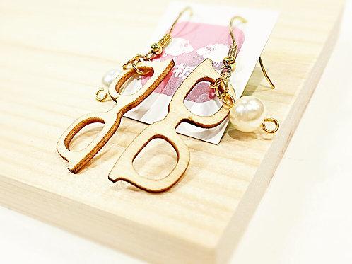 Wooden eyeglasses faux pearl earrings